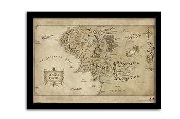 Worksheet. Pyramid International The Hobbit Middle Earth Map Framed Print