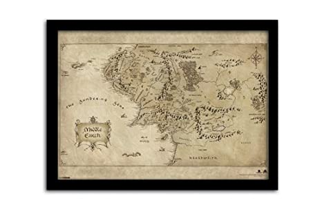 the hobbit pyramid international middle earth map framed print memorabilia multi colour