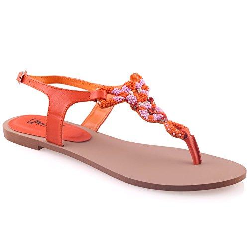 Unze Las Mujeres Gavin Beads Acentuados Thong Colgar Sandalias Planas UK Tamaño 3-8 Naranja