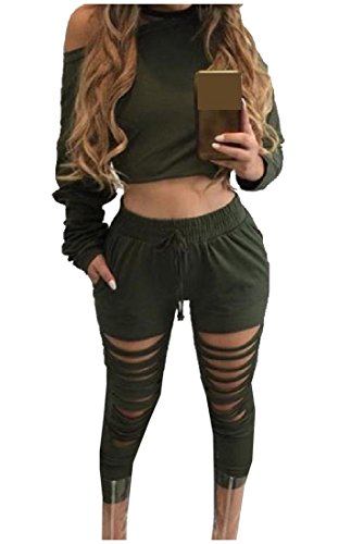 AngelSpace Womens Outdoor Autumn Long Sleeve Pullover Elastic Waist Pants Army Green