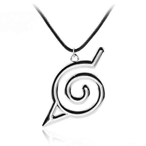 Official Otaku Konoha Leaf Village Symbol Charm Pendant Necklace - Silver/Metal (0.4 oz) - Village Charm