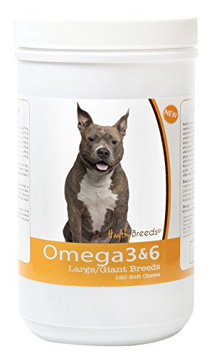 Healthy Breeds Dog Omega 3 & 6 Fish Oil Soft Chews for American Staffordshire Terrier - Large Dog Formula - Over 40 Breeds -Supplement with Anchovy, Krill Oil - 120 Count - HP Skin and Coat Support