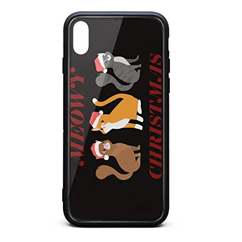 (Cute Phone Case for iPhone Xs MAX Cute Cats Meowy with Christmas hat Rubber Frame Tempered Glass Covers Protective Anti-Scratch Skid-Proof Never Fade Mobile Cases Fit Slim)