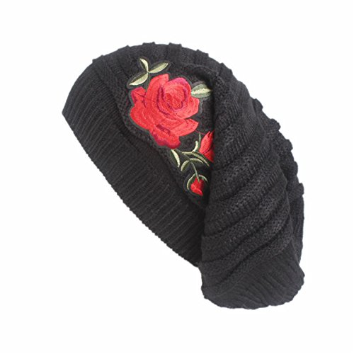 Qhome Women Winter Knitted Skull Beanie Slouchy Long Knit Dreadlock Hat Baggy Cap With Red Rose -