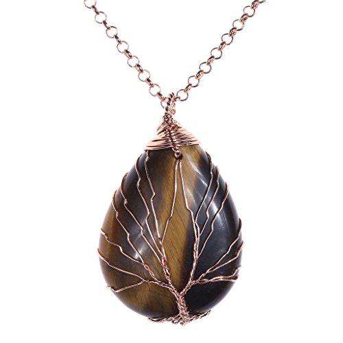 (Jovivi Vintage Tree of Life Wire Wrapped Copper Teardrop Natural Tiger Eye Gemstones Pendant Necklace)