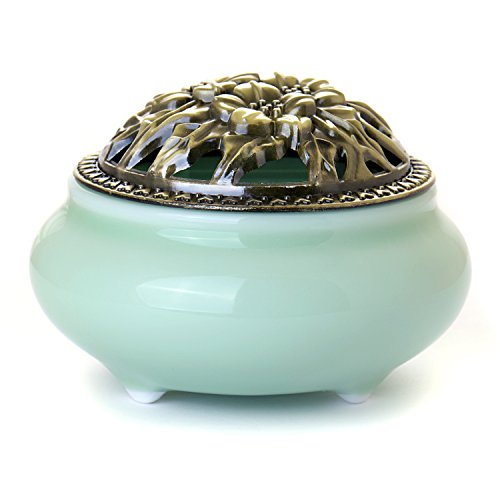 King Incense Burner (Cone Incense Burner with Brass Calabash Incense Stick Holder - Chinese Celadon Porcelain Decorated Charcoal Censer - Ceramic Incense Ash Catcher Tray Bowl)