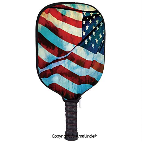 (SCOXIXI 3D Pickleball Paddle Racket Cover Case,American Flag in The Wind on Flagpole Memorial Patriot History ImageCustomized Racket Cover with Multi-Colored,Sports Accessories)