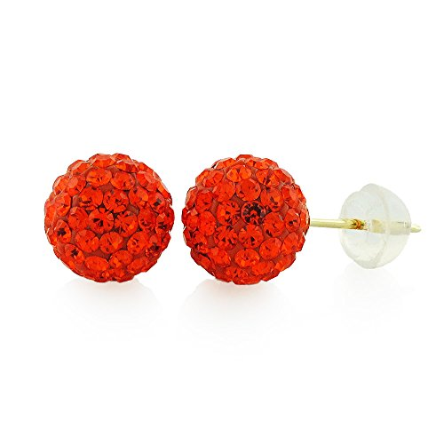 (14k Yellow Gold Womens 8mm Austrian Crystal Ball Studs Earrings (Red Hot))