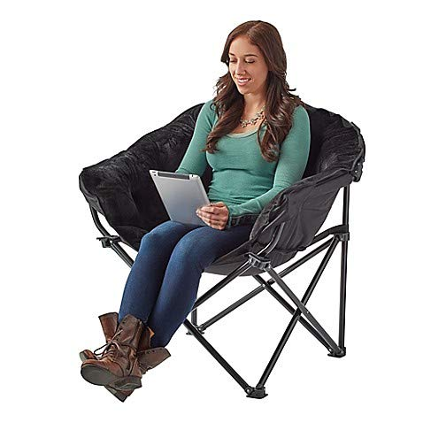 Folding Faux Fur Club Chair in Black - Dorm Must have