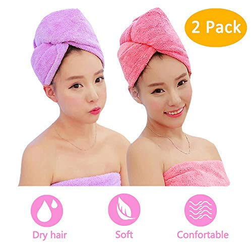 Wrap Hair Accessory (ADOGO Hair Towels Wrap 2 Pack,Microfiber Hair Towel Twist Cap Soft Absorbent Quickly Dry Hair Turban for Kids and Women (Pink+Purple))