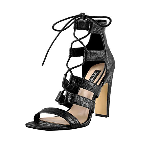 Onlymaker Square Open Toe Heels for Women Lace Up Cut Out Block Heel Fashion Shoes Big Size 15 -