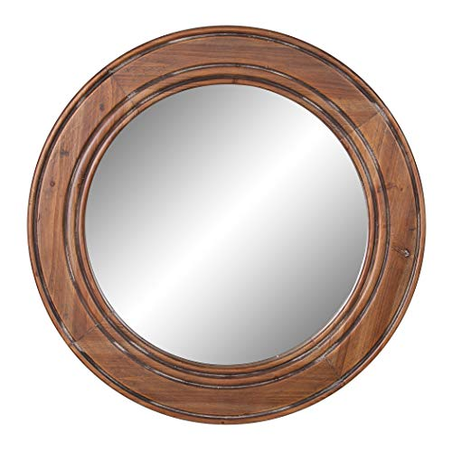 (Reclaimed Wood Large Round Wall Accent Mirror)