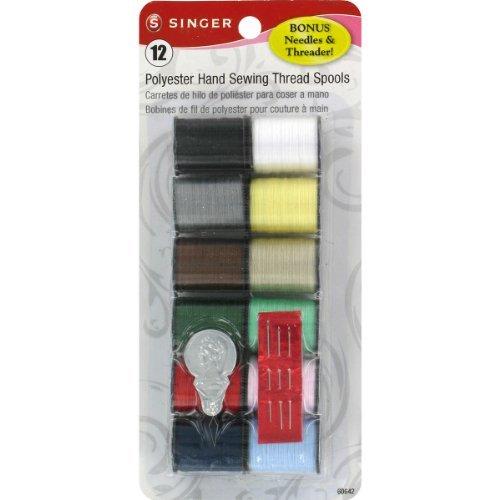 Singer Polyester Thread (25 Yard Spools) 12 Per Package - Light and Dark (Polyester Thread 12 Spools)