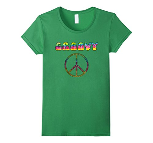 1970's Womens Hippie Shirt (Womens Vintage Retro 1970s Tie Dye Groovy Peace Sign T-Shirt XL Grass)