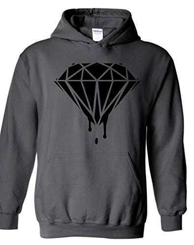 Diamond Black Hoodie Dripping Melting Bleeding Logo Hooded Sweatshirts XL Charcoal