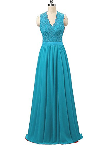 Nina V-neck Long Chiffon open Back Bridal Prom Evening Dress Jade 16