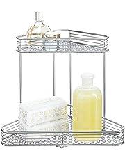 iDesign Vienna 2-Tier Free-Standing Metal Corner Storage Shelf for Bathroom, Shower, Vanity, Closet - Silver