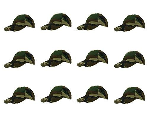 Gelante Baseball Caps 100% Cotton Plain Blank Adjustable Size Wholesale LOT 12 Pack - 1830 Woodland Baseball Caps Woodland Camouflage Cap