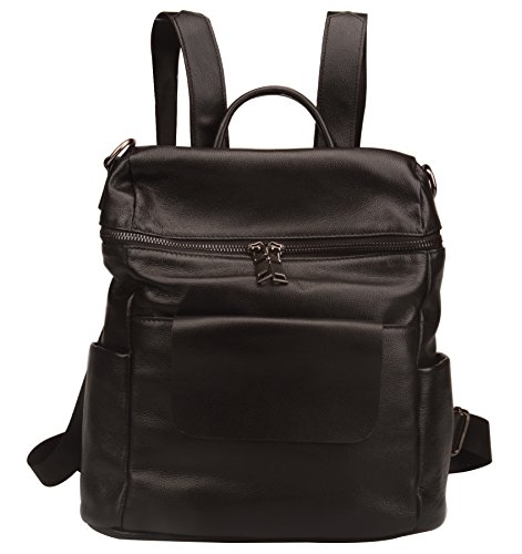 Fiswiss Women's Genuine Leather Fashion Backpack School Backpack Purse Handbags (Black) by Fiswiss