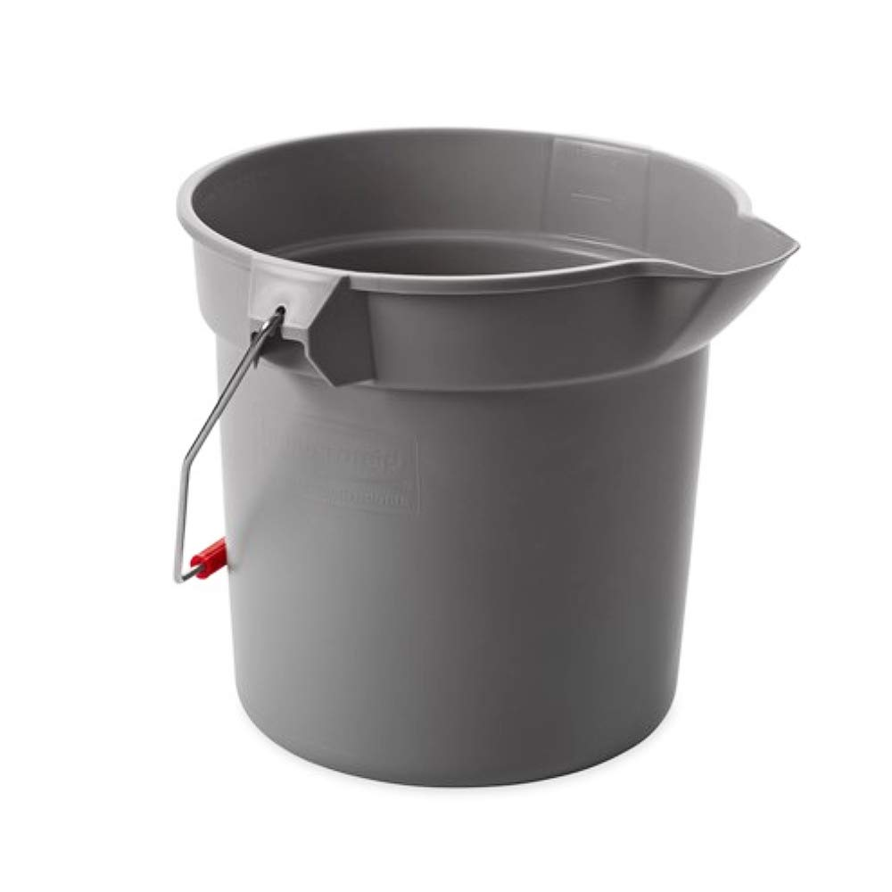 Rubbermaid Commercial Products 2.5 Gallon BRUTE Heavy-Duty, Corrosive-Resistant, Round Bucket, Gray (FG296300GRAY): Cleaning Buckets Cleaning Buckets: Industrial & Scientific