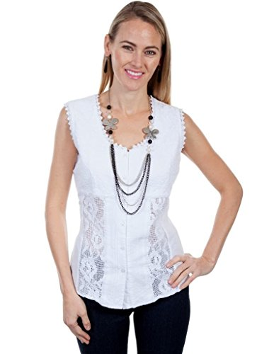 Scully Women's Cantina Daneila Short Sleeve Paisley Top White (Paisley Empire Shirt)