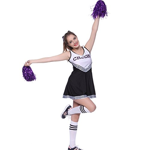 VARSITY COLLEGE SPORTS School Girl CHEERLEADER UNIFORM COSTUME OUTFIT Black w/ 2purple pompoms XS