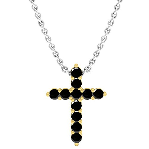 0.45 Carat (Ctw) 10K Yellow Gold Black Diamond Ladies Cross Pendant 1/2 CT (Silver Chain Included) (Ct Cross Diamond 1/2 Pendant)