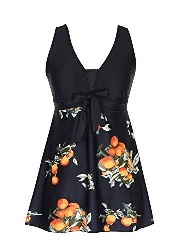 DANIFY Plus Size Bathing Suit Floral Tankini Swim Dress Tummy Control Cover Up Swimsuits