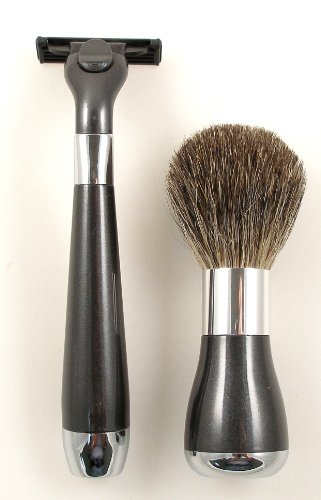 Shaving Gift Set with Badger Brush and Mach 3 Razor Handle. UV Plated in a Gift Box, Great Fathers Day or Christmas Gift.