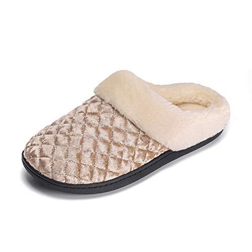 y Foam Fluffy Slip-on House Fleece Fur Lined/Anti-Skid Sole, Indoor & Outdoor Gold ()