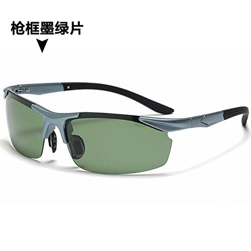 de negro negro hombres de pesca gafas sol KOMNY polarizador deportivas circular y lentes sol gafas Gun de enmarcadas ceniza Green conducción de The Tablets Box W0a6dqqUw