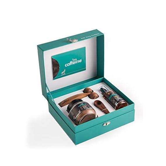 mCaffeine Coffee De-stress Gift Kit | Tan Removal, Nourishing | Body Scrub, Body Oil | All Skin | Paraben & Mineral Oil Free