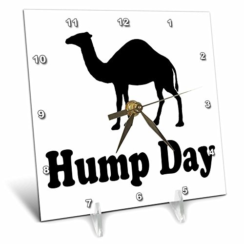 3dRose dc_159637_1 Hump Day Camel Wednesday Desk Clock, 6 by 6-Inch