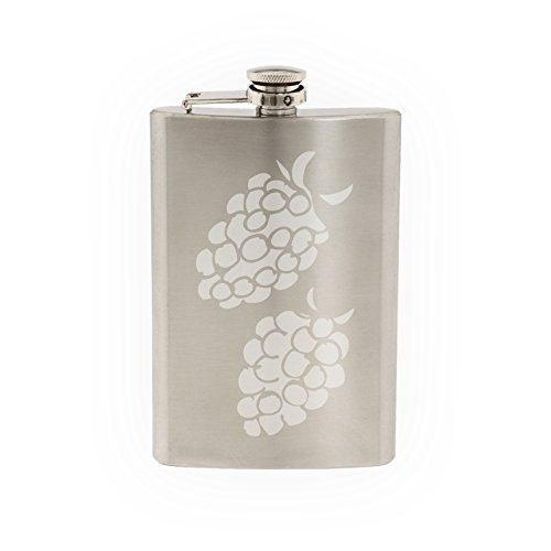 Fruit Doodle #4 - Raspberries Art Cooking Restaurant - Etched 8 Oz Stainless Steel Flask