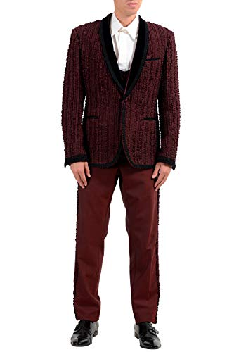 Dolce & Gabbana Three Button Suit - Dolce & Gabbana Men's Silk Wool Burgundy One Button Three Piece Suit US 42 IT 52