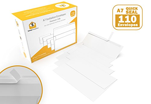 White Invitation 5 x 7 Envelopes 110 pack - For 5x7 Cards - A7 - (5 ¼ x 7 ¼ inches) - Perfect for Weddings, Graduation, Any Cards - 120 GSM - 32lb/80lb Text - Peel, Press & Self Seal - Square Flap by Sensei Supplies