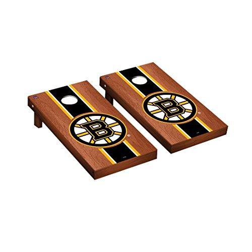 Victory Tailgate Boston Bruins NHL Regulation Cornhole Game Set Rosewood Stripe Version