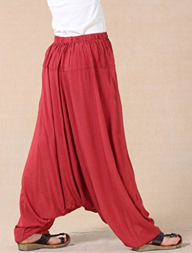 MatchLife Mujer Nuevo Suelta Dobladillo Plain harén pantalones M002-Red(Fit UK 4-18)