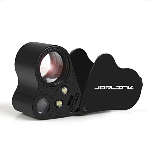 - JARLINK 30X 60X Illuminated Jewelers Eye Loupe Magnifier, Foldable Jewelry Magnifier with Bright LED Light for Gems, Jewelry, Coins, Stamps, etc