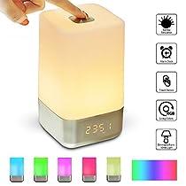 Wake-Up Light,SOLMORE Lampada Touch Lampada da Comodini Simulazione Alba e 5 Suoni Naturali Multicolore Luce notturna Controlli Touch e Caricatore USB