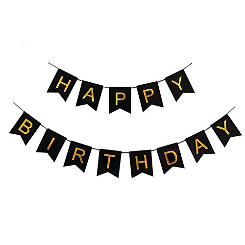 Lovely Happy Birthday Banner,Birthday Party Decorations and Supplies,Versatile, Beautiful, Swallowtail Bunting Flag Garland Surprise Ideas,Color on Black,Blue (Black) ()