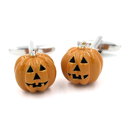 Halloween Pumpkin Cufflink Orange Scary Costume JackO Lantern Wedding Groom -