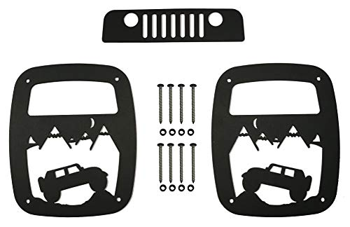 VroomTec Jeep Wrangler Aluminum Tail Light Guards - Accessories Include Third Brake Light Cover and All Hardware for Jeep TJ and LJ (1997-2006) (TJ Hill Climb with Third Cover) (Brake 3rd Cover Light)