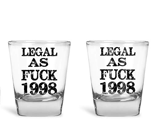 AW Fashions - Legal AF 1998 Birthday Novelty Gag Gifts - 21st Birthday Party Supplies - 2 Pack Round Set of Shot Glass