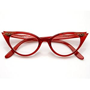 zeroUV - Vintage Cateyes 80s Inspired Fashion Clear Lens Cat Eye Glasses with Rhinestones (Red)