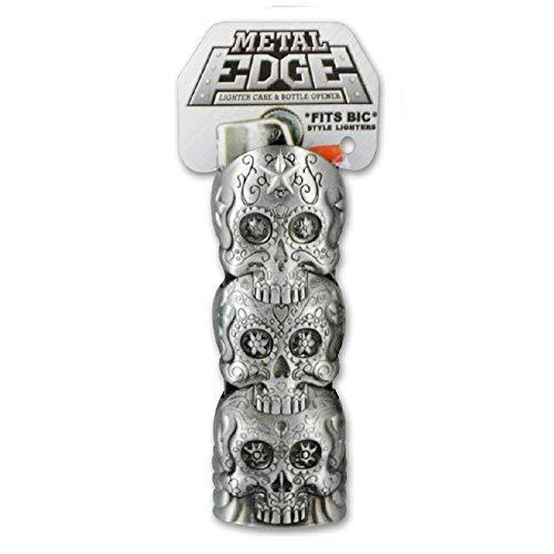 (Metal Lighter Case for BIC Lighters, Lighter Protector and Bottle Opener - Skull Design)