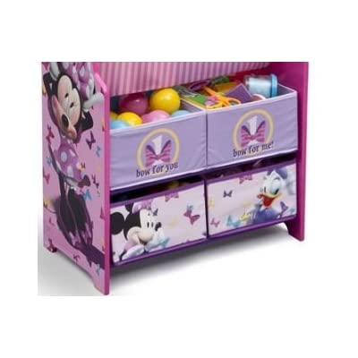 Disney Book and Toy Organizer, Book and Toy Organizer, Kids Book Organizer, Book Rack and Toy Bin, Fabric Storage Bin Bookcase Storage Chest Featuring Minnie Mouse: Toys & Games