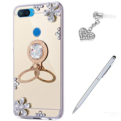 Price comparison product image Case for Xiaomi Mi 8 Lite Diamond Case, Crystal Inlaid diamond Flowers Rhinestone Diamond Glitter Bling Mirror Back TPU Case & Ring Stand + Touch Pen Dust Plug for Xiaomi Mi 8 Lite Mirror Case, Gold