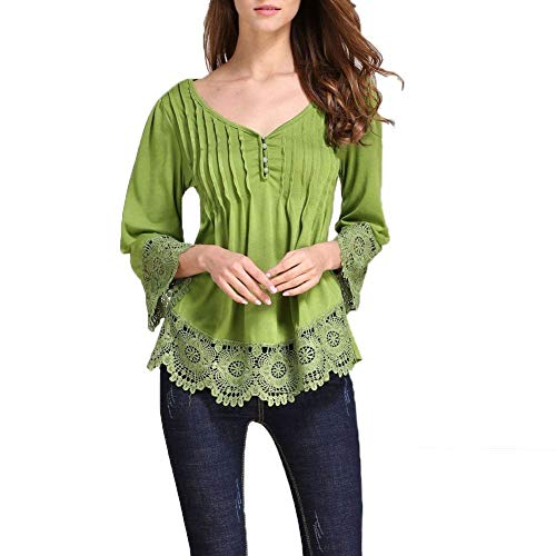 Mode Top Tshirts Printemps Dentelle Elgante Manches Femme Irrgulier Jeune Plier V Uni Creux Classique Fille T Shirt Manche Vert Longues Casual Shirts pissure Mode Cou rwrIqt
