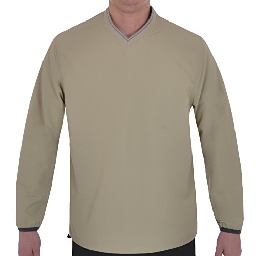 Ashworth Mens V Neck Golf Windshirt Top - Stone - 2XL (Windshirt Stone)